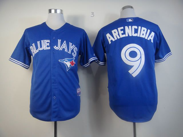 Men Toronto Blue Jays 9 Arencibia Blue MLB Jerseys