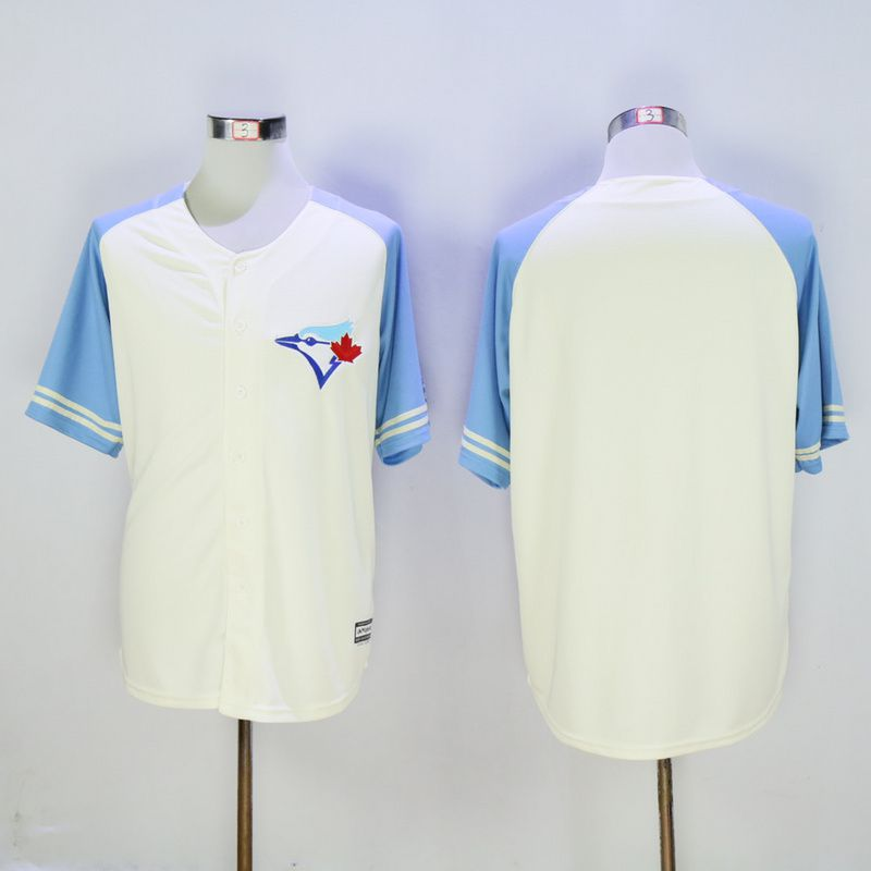 Men Toronto Blue Jays Blank Cream MLB Jerseys