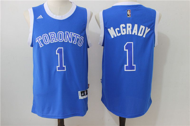 Men Toronto Raptors 1 Mccrady Blue Adidas NBA Jerseys