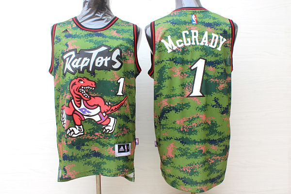 Men Toronto Raptors 1 Mccrady Camo Adidas NBA Jerseys