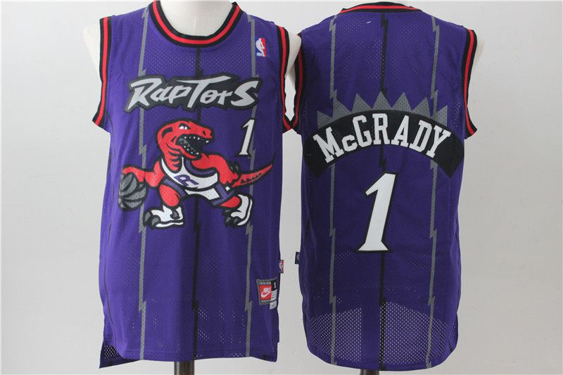 Men Toronto Raptors 1 Mccrady Purple Throwback NBA Jerseys
