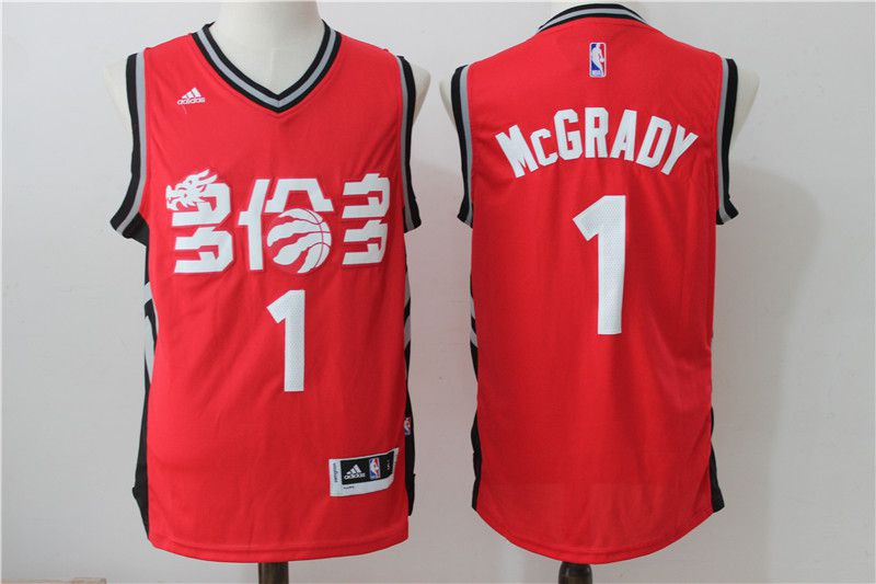 Men Toronto Raptors 1 Mccrady Red Adidas NBA Jerseys