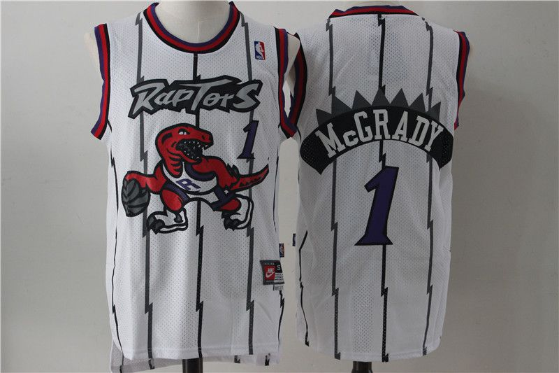 Men Toronto Raptors 1 Mccrady White Throwback NBA Jerseys