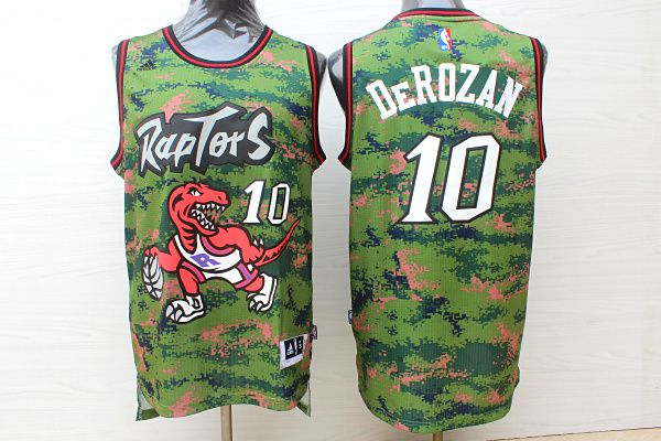 Men Toronto Raptors 10 Derozan Camo green Adidas NBA Jerseys