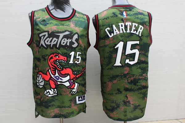 Men Toronto Raptors 15 Carter Camo green Adidas NBA Jerseys