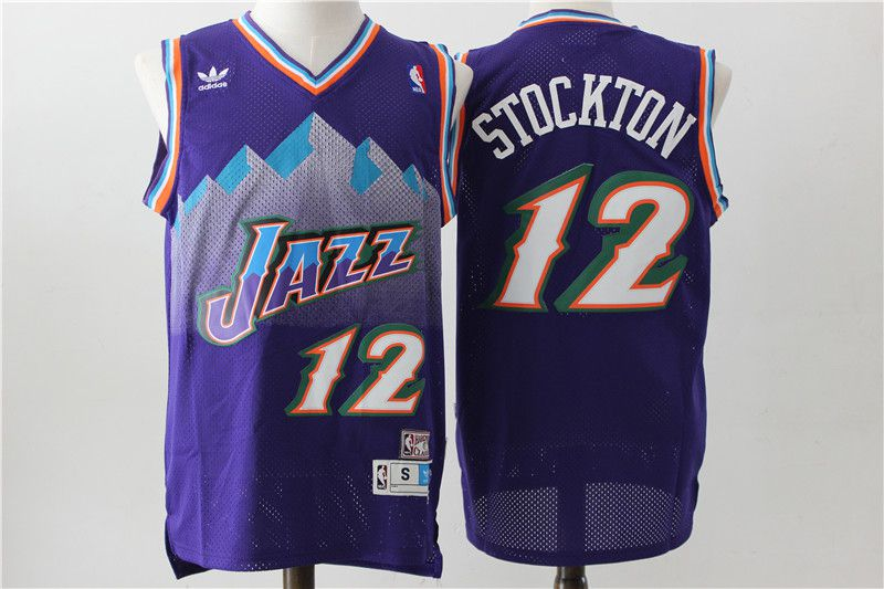 Men Utah Jazz 12 Stockton Purple Throwback NBA Jerseys