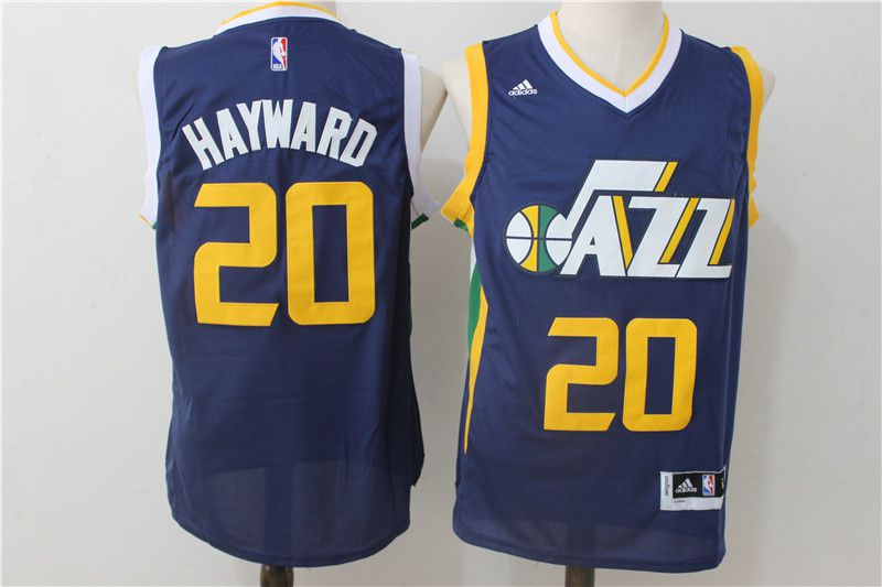 Men Utah Jazz 20 Hayward Blue Adidas NBA Jerseys