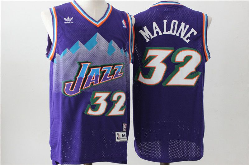 Men Utah Jazz 32 Malone Purple Throwback NBA Jerseys
