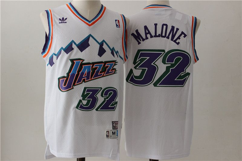 Men Utah Jazz 32 Malone White Throwback NBA Jerseys