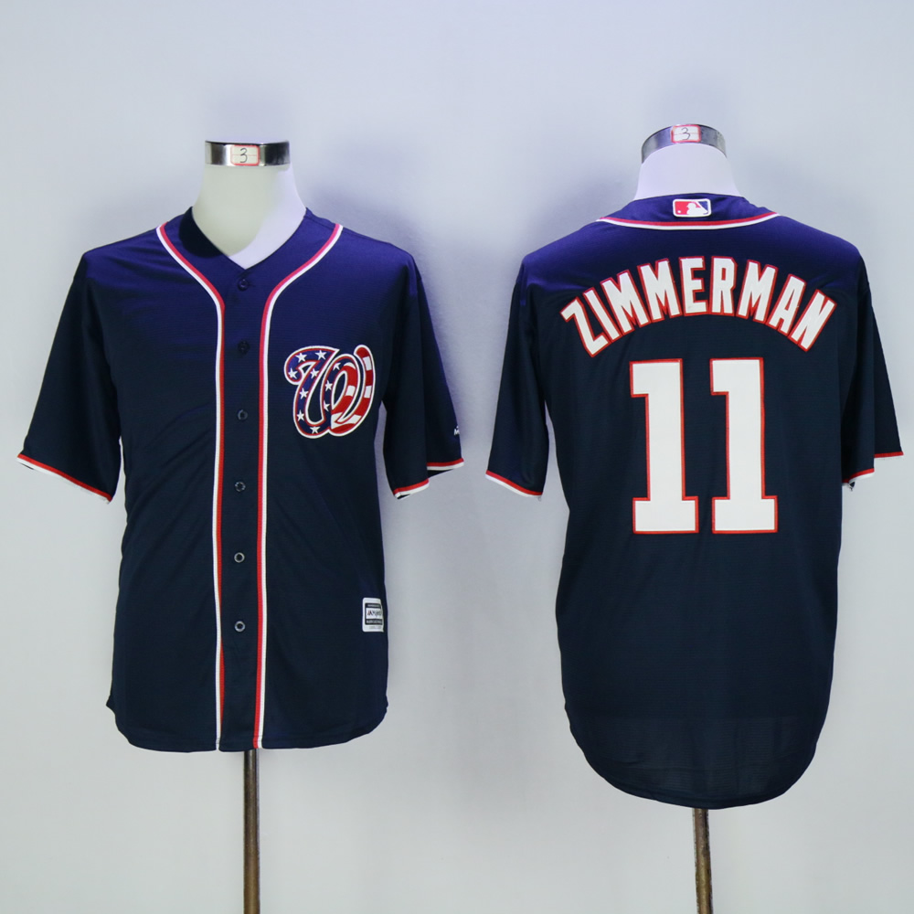 Men Washington Nationals 11 Zimmerman Blue MLB Jerseys