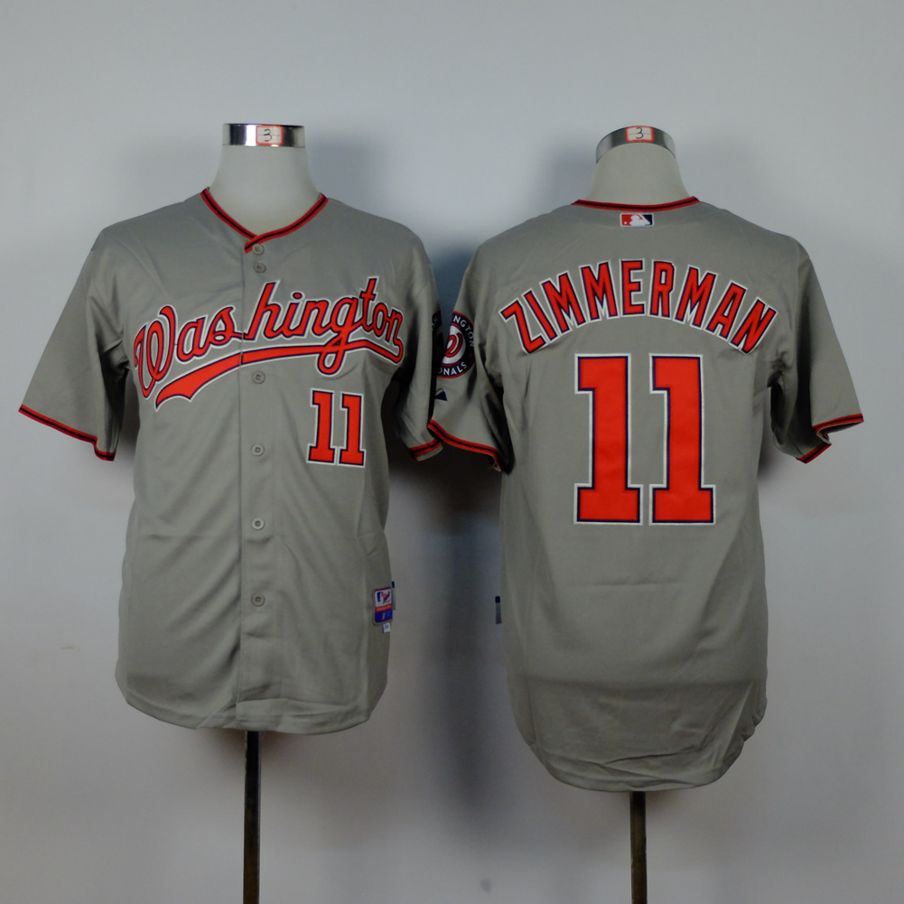 Men Washington Nationals 11 Zimmerman Grey MLB Jerseys
