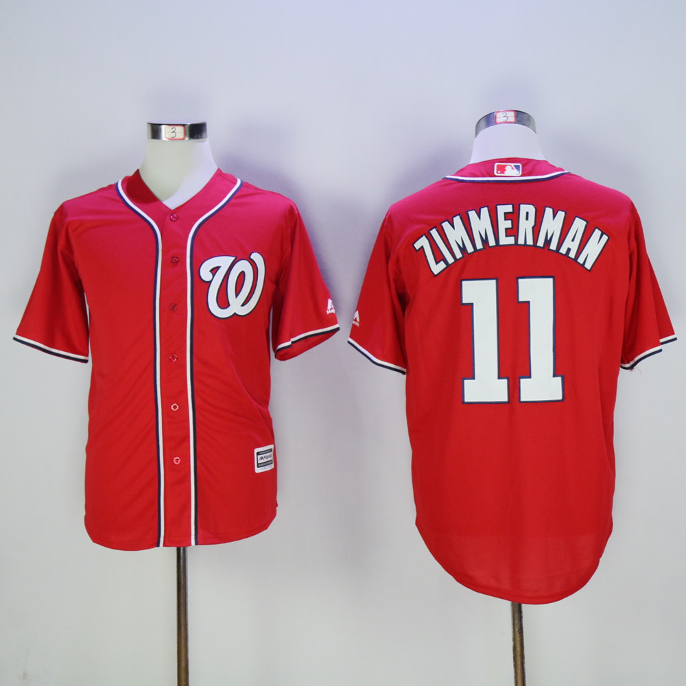 Men Washington Nationals 11 Zimmerman Red MLB Jerseys
