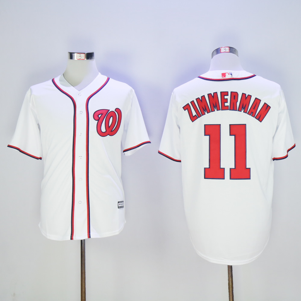 Men Washington Nationals 11 Zimmerman White MLB Jerseys