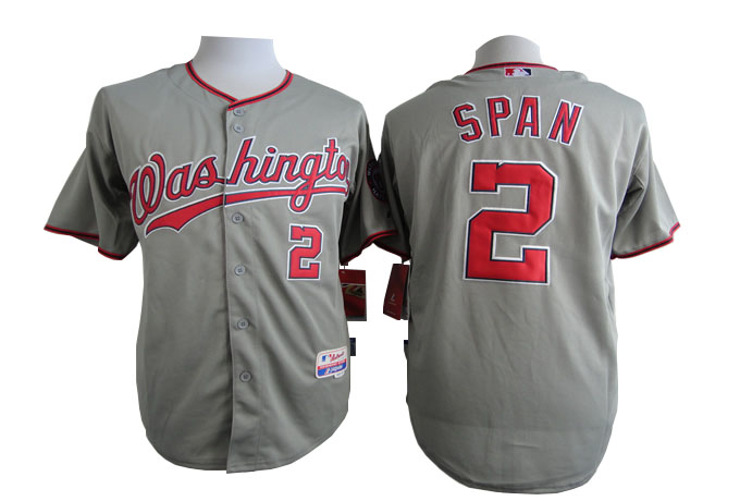 Men Washington Nationals 2 Span Grey MLB Jerseys