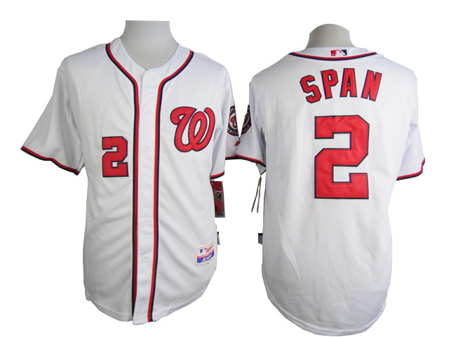 Men Washington Nationals 2 Span White MLB Jerseys