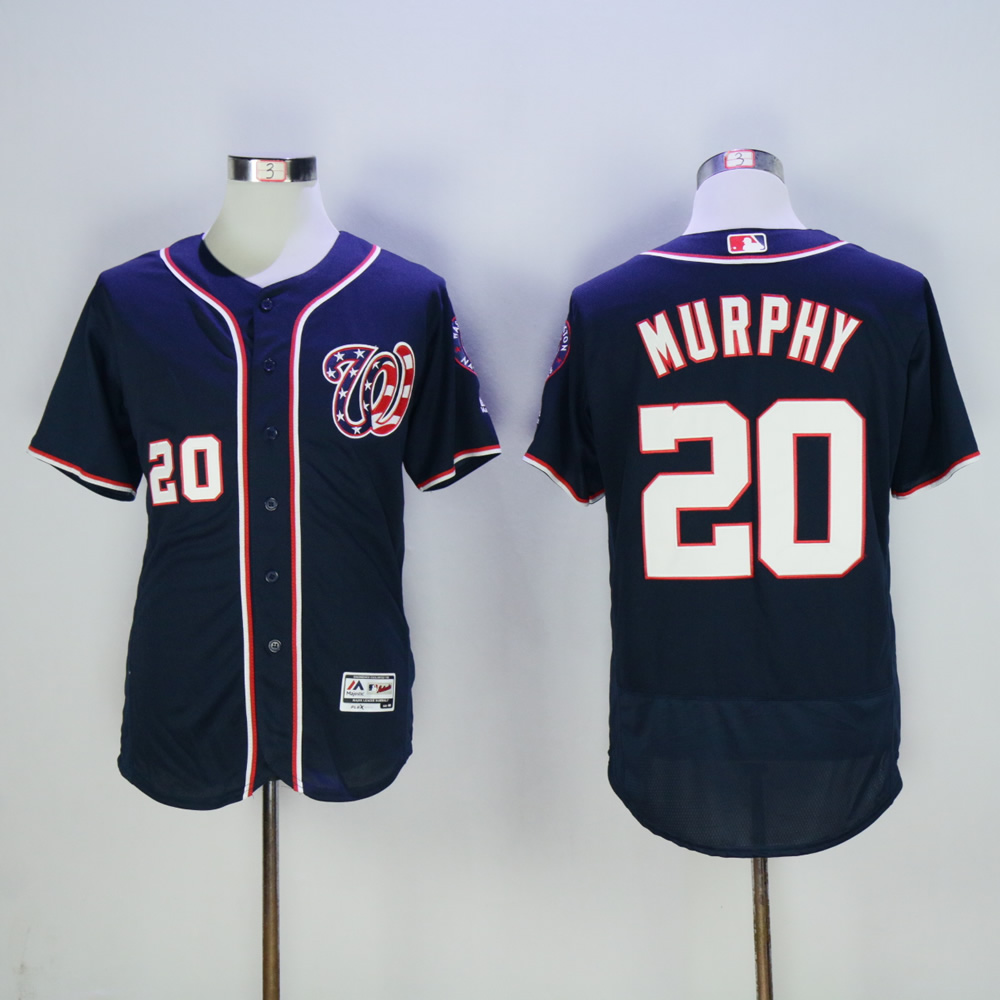 Men Washington Nationals 20 Murphy Blue MLB Jerseys