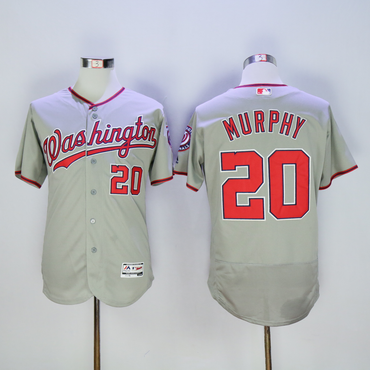 Men Washington Nationals 20 Murphy Grey MLB Jerseys
