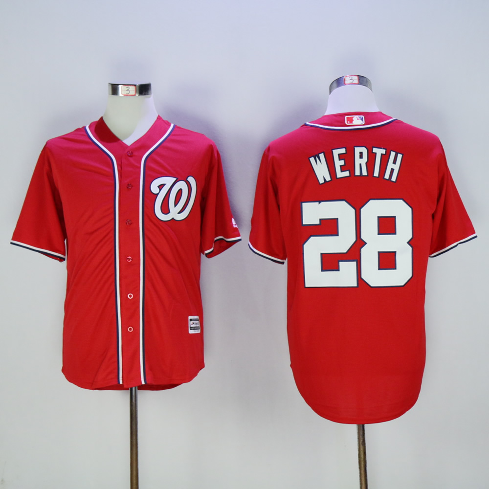 Men Washington Nationals 28 Werth Red MLB Jerseys