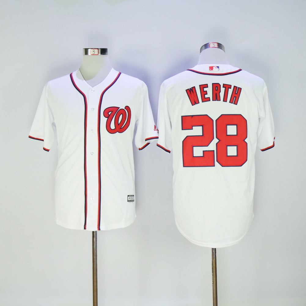 Men Washington Nationals 28 Werth White MLB Jerseys