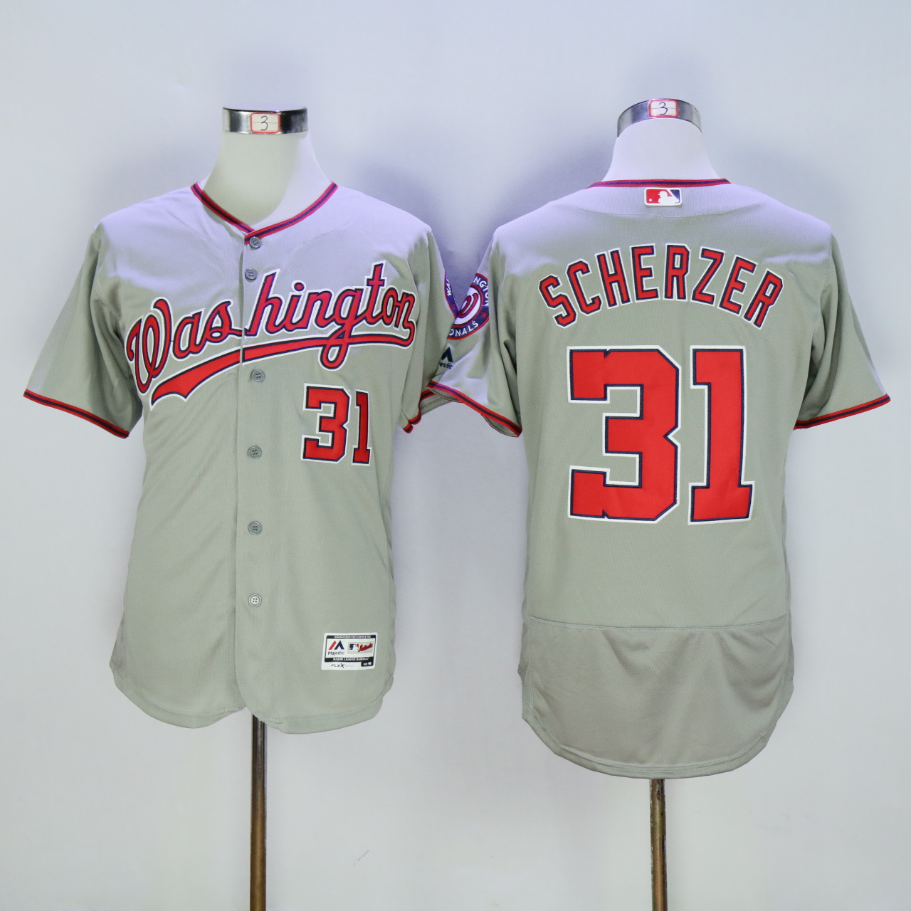 Men Washington Nationals 31 Scherzer Grey MLB Jerseys