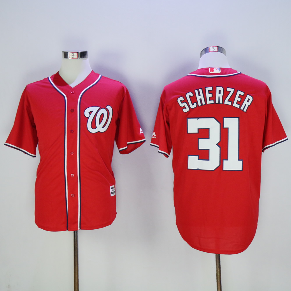 Men Washington Nationals 31 Scherzer Red MLB Jerseys