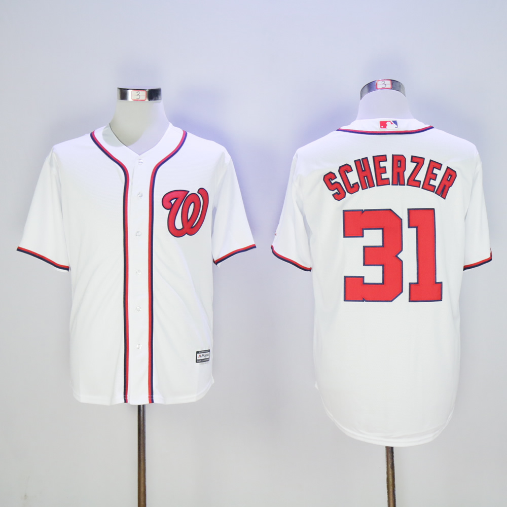 Men Washington Nationals 31 Scherzer White MLB Jerseys