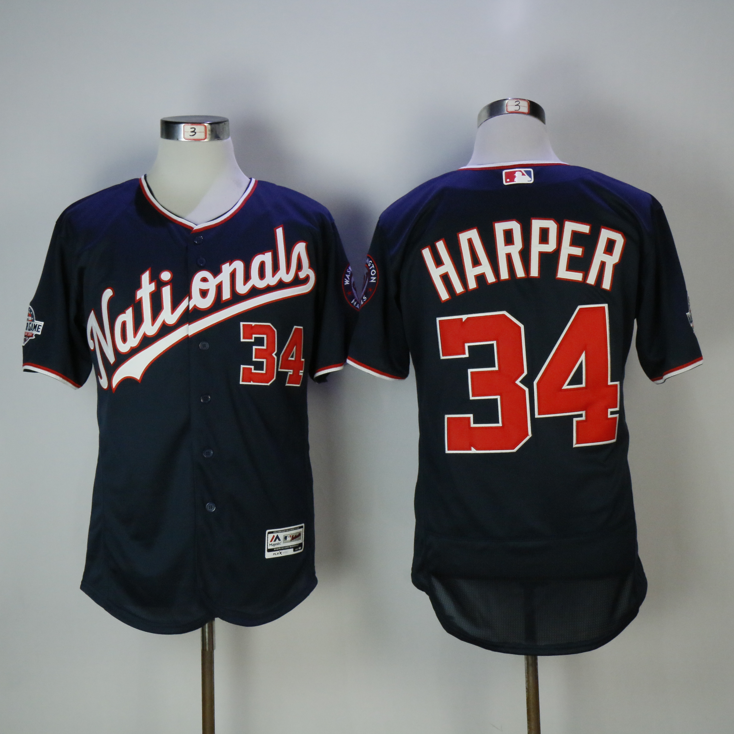 Men Washington Nationals 34 Harper Blue All star MLB Jerseys