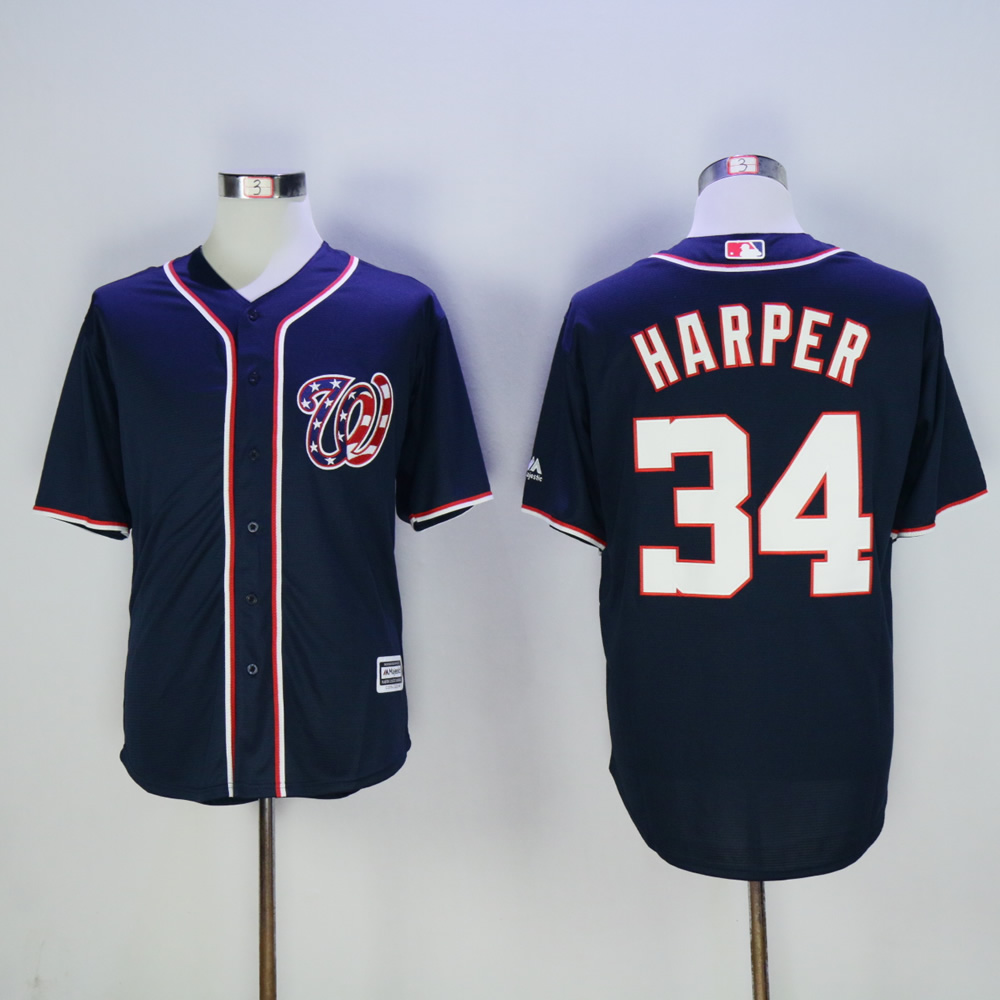 Men Washington Nationals 34 Harper Blue MLB Jerseys