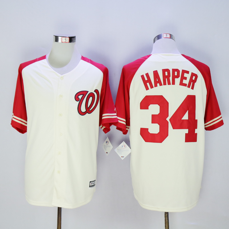 Men Washington Nationals 34 Harper Cream White MLB Jerseys