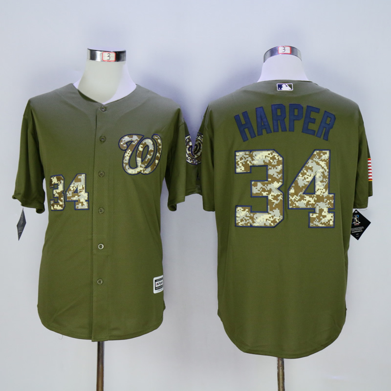 Men Washington Nationals 34 Harper Green MLB Jerseys