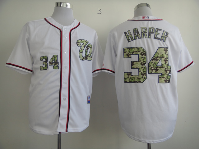 Men Washington Nationals 34 Harper White Camo MLB Jerseys