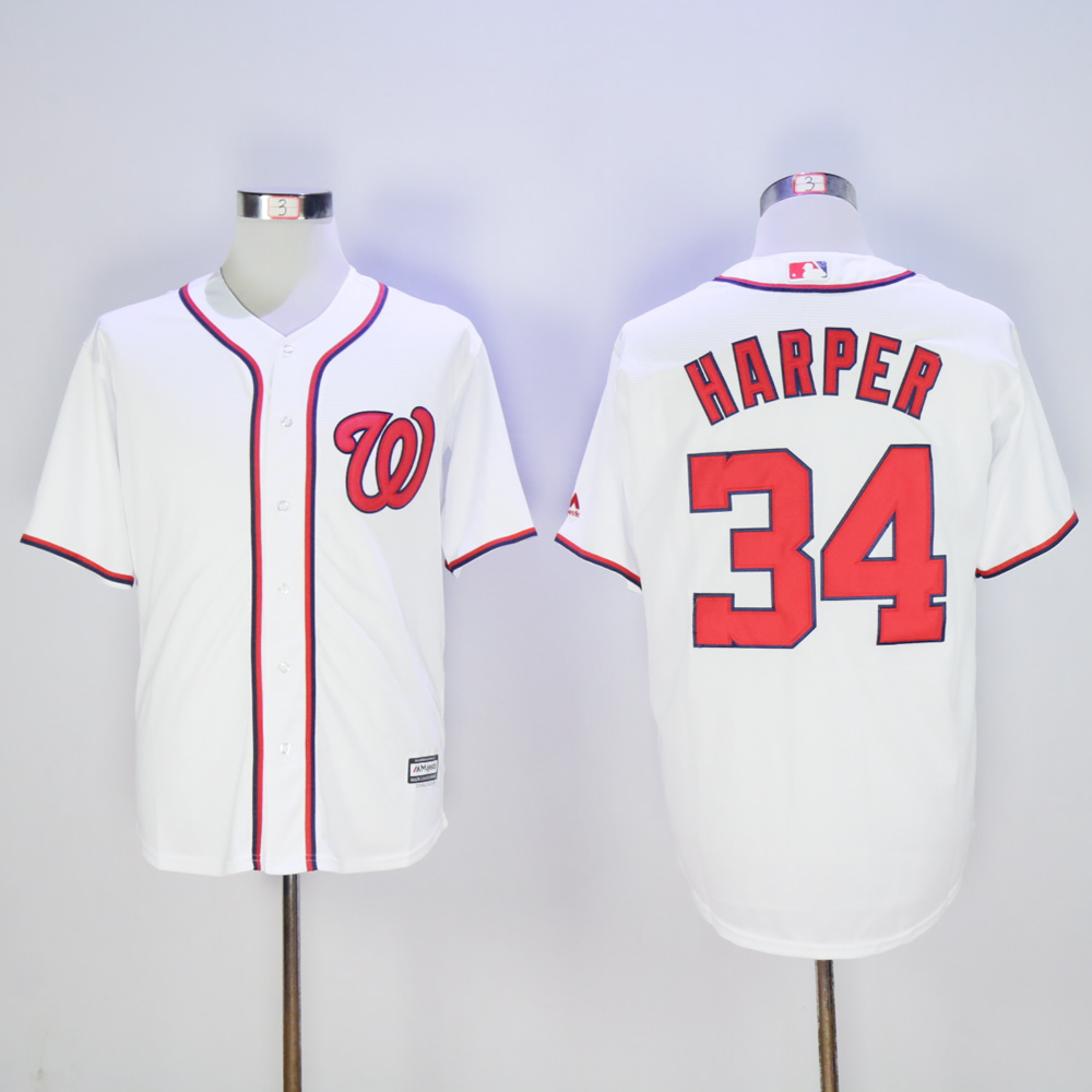 Men Washington Nationals 34 Harper White MLB Jerseys