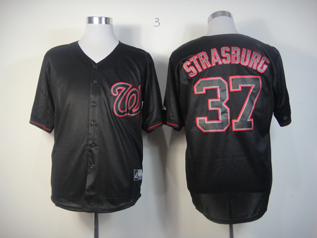 Men Washington Nationals 37 Strasburg Black Fashion MLB Jerseys