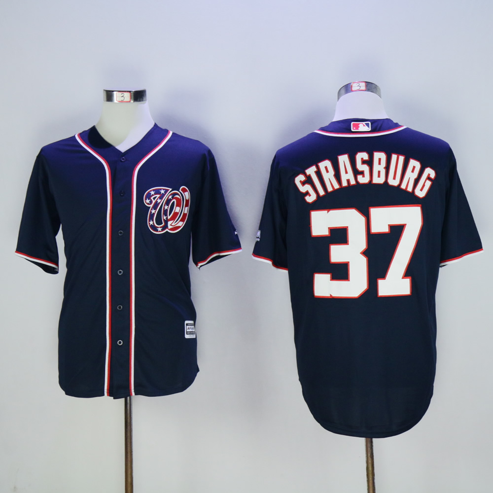 Men Washington Nationals 37 Strasburg Blue MLB Jerseys