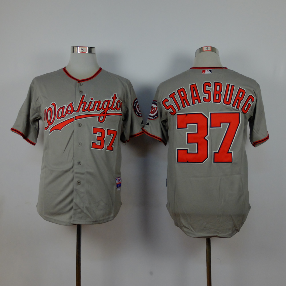 Men Washington Nationals 37 Strasburg Grey MLB Jerseys