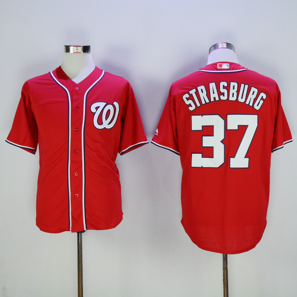 Men Washington Nationals 37 Strasburg Red MLB Jerseys