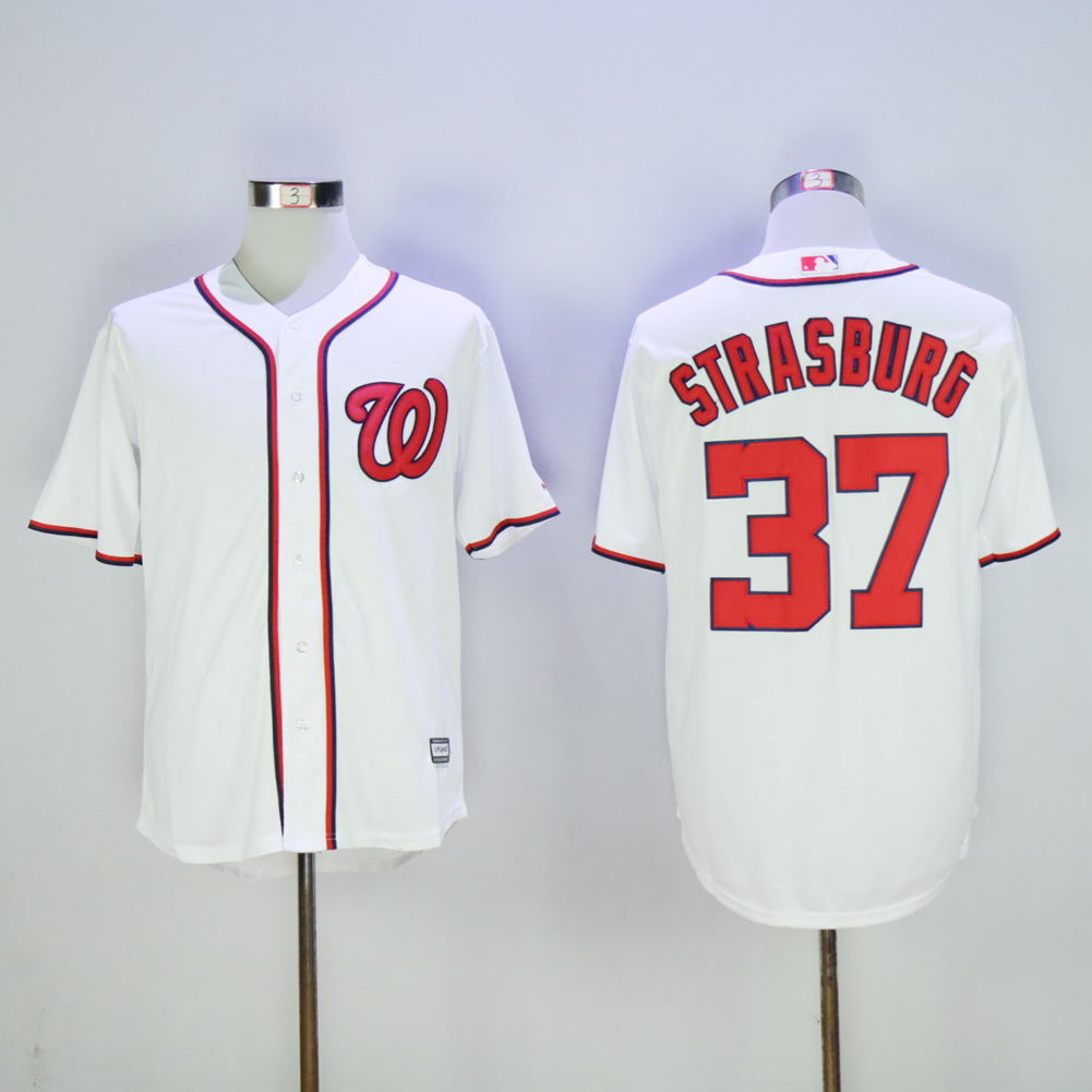 Men Washington Nationals 37 Strasburg White MLB Jerseys