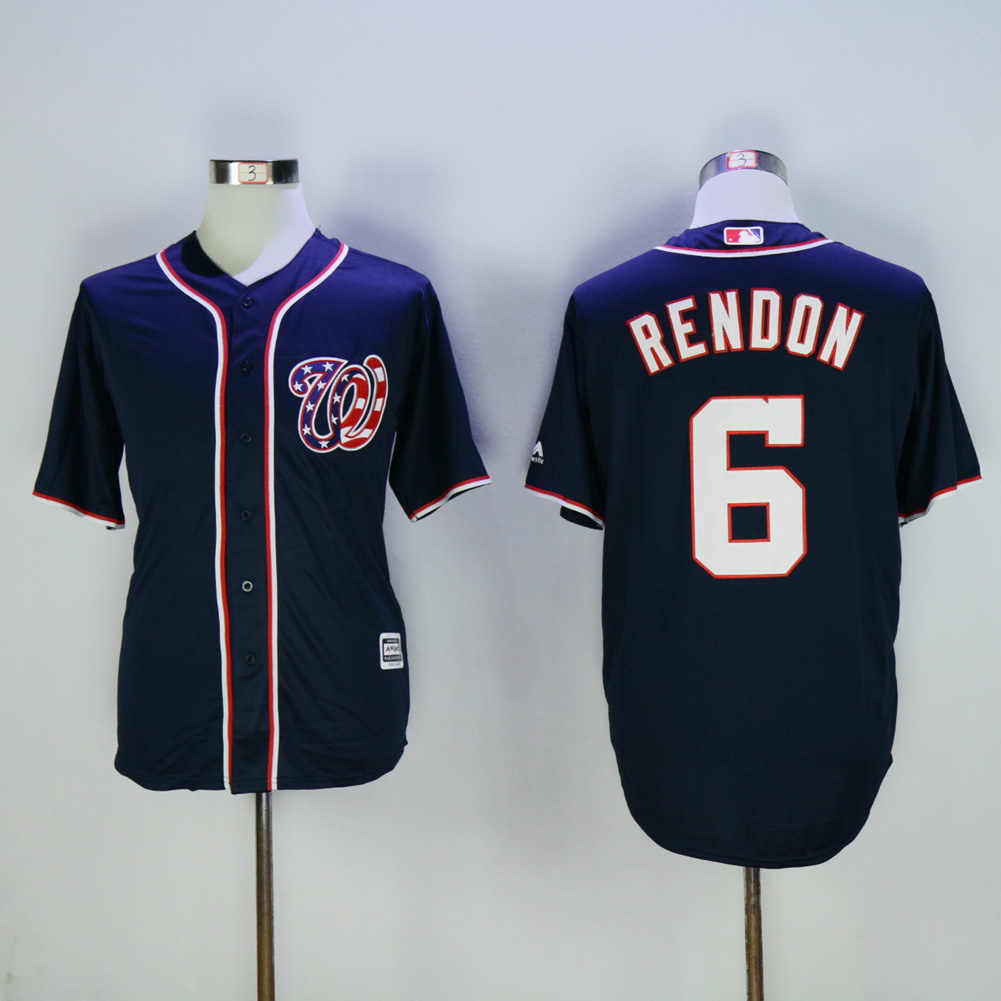Men Washington Nationals 6 Rendon Blue MLB Jerseys