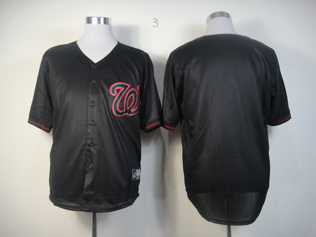 Men Washington Nationals Blank Black Fashion MLB Jerseys