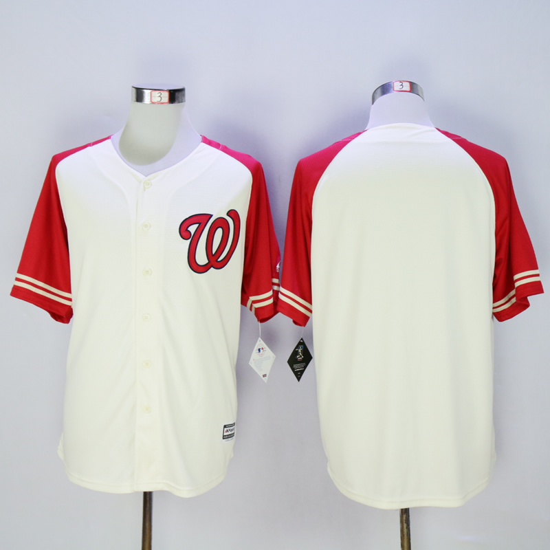 Men Washington Nationals Blank Cream White MLB Jerseys