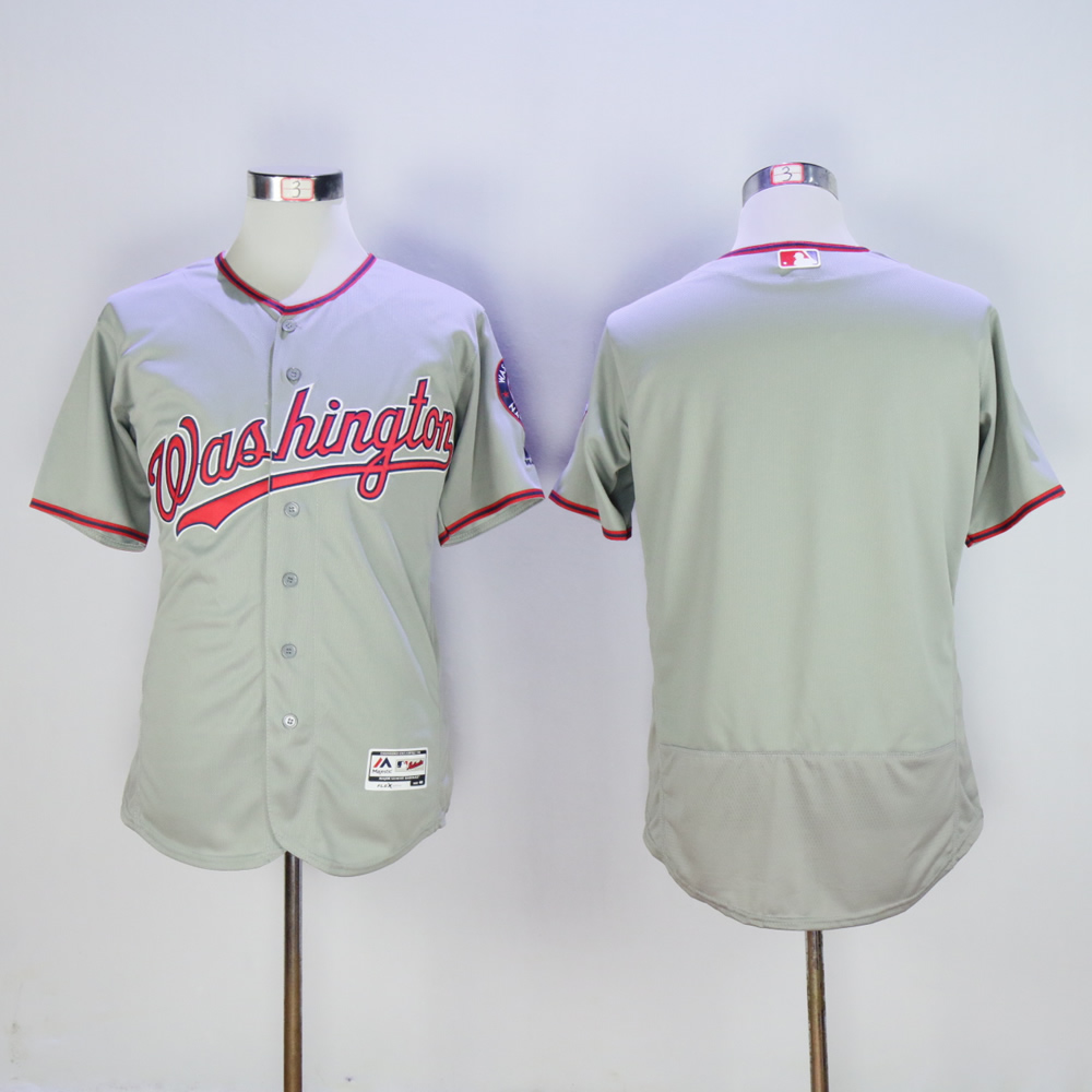 Men Washington Nationals Blank Grey MLB Jerseys