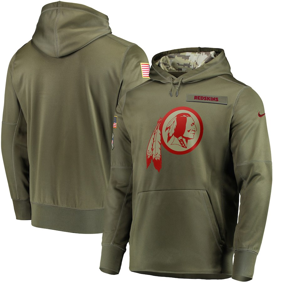 Men Washington Redskins Nike Olive Salute To Service KO Performance Hoodie Green