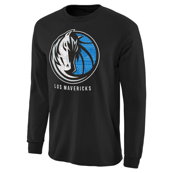 NBA Men Dallas Mavericks Noches Enebea Long Sleeve TShirt Black