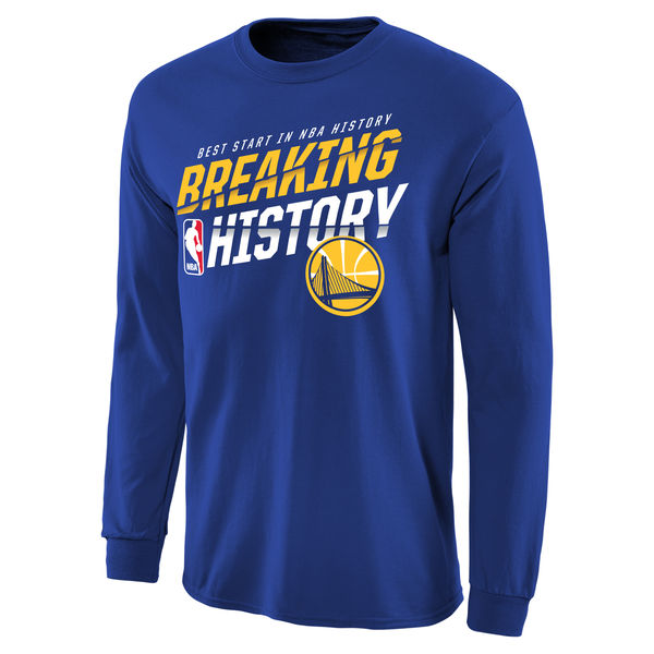 NBA Men Golden State Warriors Breaking History Long Sleeve TShirt Royal