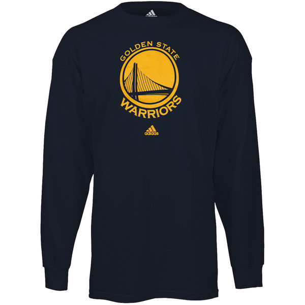 NBA Men Golden State Warriors Navy Blue Prime Logo Long Sleeve Tshirt