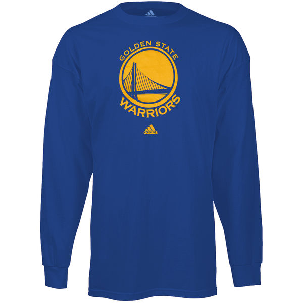 NBA Men Golden State Warriors Royal Blue Prime Logo Long Sleeve Tshirt