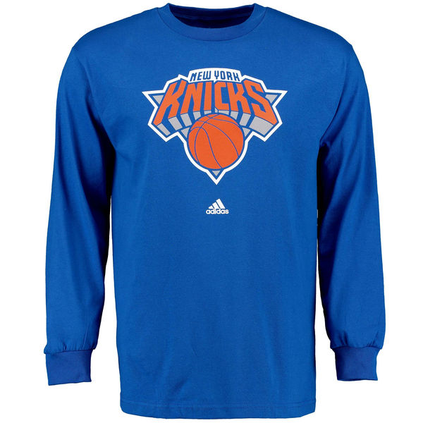 NBA Men New York Knicks Royal Blue adidas Prime Logo Long Sleeve TShirt