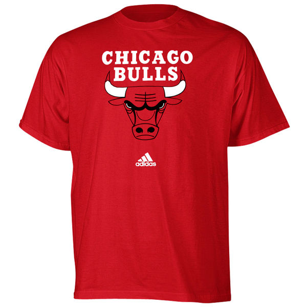 NBA Men adidas Chicago Bulls Red Primary Logo Tshirt