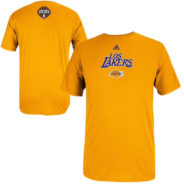 NBA Men adidas Los Angeles Lakers 2014 Noches Enebea TShirt Gold
