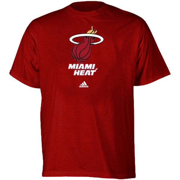 NBA Men adidas Miami Heat Full Primary Logo TShirt Red